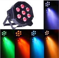 Wholesale 5in1 led par - 7X12 Watt 5in1 LED RGBW+Amber DMX512 Par Can Light DJ Stage Wedding Slim Par Light LED Flat spotlight floodlight