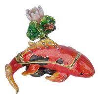 рыба для рукоделия оптовых-кои рыба брелок коробка морская жизнь ремесло украшенный драгоценными камнями шкатулка на шарнире коробка для подарка коробка ювелирных изделий держатель кольца