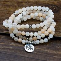 Wholesale mala black gold resale online - 6mm Prayer Beads Mala Bracelet Pink Aventurine Wrapped Wrists Lotus Charm Bracelet for Unisex Buddha Yoga Jewelry