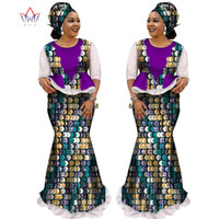 Wholesale Wax Dress For Women - BRW 2018 African Skirt Sets for Women Dashiki half sleeve tops & skirt Africa wax Print Clothing Plus Size skirt suits WY1681
