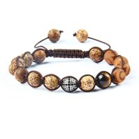 Wholesale beads brown 8mm for sale - Group buy New Design Party Jewelry mm Natural Brown Stone Beads With Black Cz Cross Bracelets Adjustable Bracelet For Gift