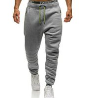 Wholesale clothes for running online - Mens Sports Pants Casual Joggers Waist Panalled Drawstring Pencil Pants Running Clothing for Male