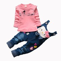 pisi seti pamuk toptan satış-CNJiaYun Hello Kitty Kız Giyim Setleri Bahar Pamuk çocuk Jartiyer Setleri Tam Kollu gömlek Kot 2 Parça Çocuk Giyim