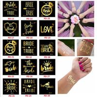 Wholesale flash photos online - Team Bride Tattoo Stickers Golden Flash Flamingo Pineapple Wedding Decor Bride Single Party Supplies Photo Props hj bb