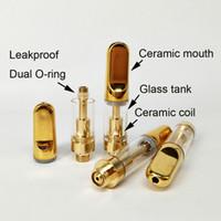Wholesale color refill - 0.5ml 1ml 510 Gold color vape pen ceramic Coil glass cartridge vaporizer golden ceramic tips concentrate oil refilling no leak tank