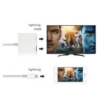 cable hdmi gratis al por mayor-NUEVO Adaptador AV digital Lightning Apple iphone HDMI Adaptador Cable Blanco Paquete Alta calidad envío libre de DHL