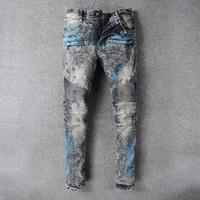 Wholesale Vintage Mens Plaid Pants - 2018 Men's Skinny Biker Elastic Jeans VINTAGE Distressed Ripped Brand Designer Slim Mens Motorcycle Moto Denim Hip Hop Pant For Men 8808