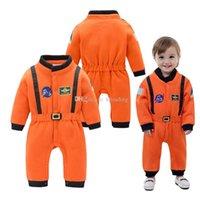 manga larga laranja manga venda por atacado-Novo bebê Spacesuit romper algodão infantil Laranja mangas compridas Espaço terno Macacões crianças Escalada roupas C2559