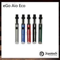 eco batterien großhandel-Joyetech eGo AIO ECO Kit Mit 650mAh Batterie 1,2ml Zerstäuber Neue ECO Technologie BFHN 0,5 Ohm Spulenkopf 7 Bunte LED 100% Original