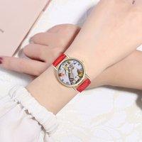 сова смотреть женщина оптовых-Женские девушки диск мода кожа часы Сова Pattern часы женщины часы montre femme