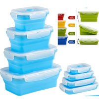 Wholesale freezer boxes food storage resale online - Silicone Lunch Box Folding Food Storage Containers With Lids Microwave Refrigerator Fresh Freezer Box Dinnerware ML pc Set HH7