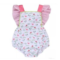 Wholesale Baby Crown Flowers - Girls Red-crowned Crane Romper Cartoon Animal Digital Print Lattice Baby Jumpsuit Vest Flower Buckles Summer 6-24M