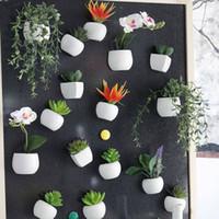 ingrosso vasi da fiori di muro-Simulato Bouquet Flower Fridge Sticker Pianta grassa Fridge Magnet Magnetic Potted Plant Decorazione della parete di casa OOA5858