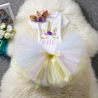 robes de baptême achat en gros de-Costume de bébé 1 an anniversaire robe robes de baptême licorne TUTU jupe tenues 12 mois infantile vêtements bandeau licorne