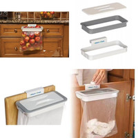 Wholesale plastic bag trash holder - Household Storage Garbage Bag Holder Plastic Attach A Trash Cupboard Door Back Rack Recycling Hanging Kitchen Tools 6 5xx VB