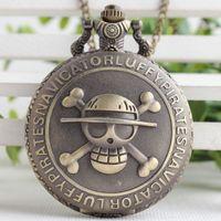 скелетные части оптовых-One Piece Король скелет зеленый бронзовый ретро с капюшоном карманные Мужские кварцевые часы Карманные часы 3SY100