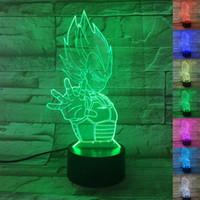 levou lâmpadas de mesa de mudança de cor venda por atacado-Dragon Ball Z Goku 3D Luzes Da Noite 7 Mudança de Cor Anime Dragon Ball Super Toy Goku DBZ Levou Lâmpada de Mesa de Iluminação