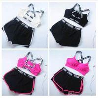 ingrosso rosa vendita pantaloni di yoga-Vendita calda ROSA Tuta da donna Summer Sport Wear Cotone Yoga Suit Fitness Bra Shorts Palestra Top Vest Pantaloni Running Underwear Set Runner Outfit
