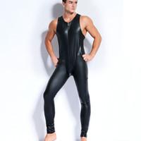 vêtements sexy hommes achat en gros de-Sexy Men Faux Latex Body En Cuir Fetish Gay Sissy Exotic Club Porter Des Costumes Sans Manches Jeu Vêtements Teddies Combinaisons Night Culb