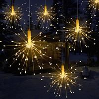 ingrosso rame di luce della stringa della batteria-150/120 / 100LEDs Hanging Starburst Fairy Lights Batteria LED Fuochi d'artificio Filo di rame String Light Remote control Holiday Night light