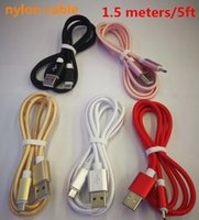 Wholesale head phone plugs - Top quality 1.5M nylon USB Charging Cable For Smart Phones Samsung HTC LG Micro USB   iphone typec Wire With Metal Head Plug C-SJ