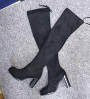 sapatos de senhora de luxo venda por atacado-NOVA Marca Mulheres Camurça Sobre o Joelho Botas de Moda Senhoras Designer de Sapatos de Plataforma Meninas Outono Inverno Sapatos De Luxo