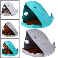tubarão da casa do gato venda por atacado-2017 Novo Tubarão Forma Dog Beds Quente Macio Dog House Pet Saco de Dormir Canil Cão Camas Para Cat Doggy House Ninho Tapete Pet Products