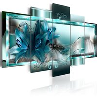 Wholesale lily flower wall canvas - Amosi Art 5 Panels Blue Lily Flowers Painting Ribbon for Background Wall Art Floral Printed for Home Decor Framed