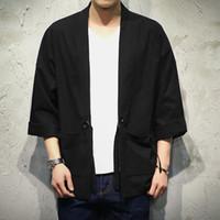 homens casaco de linho solto venda por atacado-Japão Estilo Kimono Jacket Men 100% CottonLinen Solta Mens Jaquetas Plus Size 3/4 Manga Aberta Ponto Casual Casaco Masculino blusão