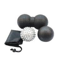 rodillos de gimnasio al por mayor-1 Set Health Peanut Massage Ball Spike Mano Fitness Ball Yoga Myofascial Release Gym Sport Masajeador Corporal Roller