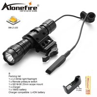 Wholesale cree flashlight pressure switch - AloneFire 501Bs CREE XM-L L2 Light LED Tactical Flashlight Torch Pressure Switch Mount Hunting Light Lamp for 18650 battery