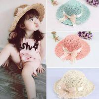 Wholesale handmade straw hats - 2018 spring and summer new handmade fisherman baby straw hat children's beach sun hat outdoor sun protection hat
