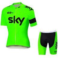 команда неба на велосипеде джерси bib шорты оптовых-новый Тур де Франс Sky Team трикотажные изделия велосипед одежда велоспорт Джерси с коротким рукавом велоспорт колготки + нагрудник брюки велоспорт skinsuit продажа