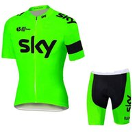 takım gökyüzü bisiklet mayo kısa şort toptan satış-Yeni Tour De France Gökyüzü Takım Formaları Bisiklet Aşınma bisiklet forması Kısa kollu bisiklet tayt + önlüğü pantolon bisiklet skinsuit satış