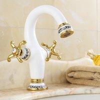 Wholesale White Bathroom Taps - Dual Handles white Painted Porcelain Bathroom Basin Brass Faucets Sink Faucet Mixer Tap W108