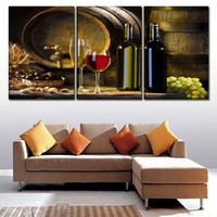 Wholesale modern wine abstract art canvas - Modular HD Painting Modern 3 Panel White And Red Grapes Wine Printed Picture Wall Art For Living Room Home Decor Artwork Canvas