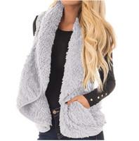 chalecos de invierno para damas al por mayor-Damas Casual Winter Warm Solid Pocket Outwear Mujeres Otoño sin mangas Faux Fur Chaleco Coat