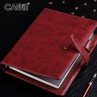 vintage binder großhandel-CAGIE Business A5 Spirale NotFilofax Vintage Binder Büro Papier Organizer Notizblock Planer Kreatives Leder Notebook