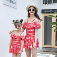 Wholesale swimsuit mother - Family Matching Outfits Mother And Daughter Summer 2pcs set Swimsuit Kids Parent Dot Swimwear Baby Girls Clothes