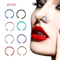 Wholesale Body Circle Jewelry - 40 PCS Set Sexy Fake Nose Ring Circle Clip On Nose Hoop Body Jewelry Non Piercing Unisex Non Piercing