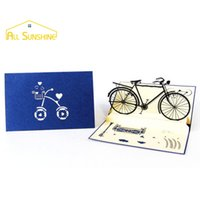 Wholesale 3d happy birthday greetings card for sale - Group buy Handmade Greeting Card D Up Cards Retro Bicycle Postcards Happy Birthday Thank You Cards