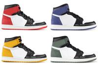 kutu takibi toptan satış-Yüksek OG 1 Parça Kırmızı Mavi Ay Sarı Hardal Kil Yeşil Basketbol Ayakkabı Erkekler 1 s Altı Şampiyonası 6 Yüzükler Sneakers Ayakkabı Ile Yüksek Kalite Kutusu