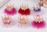 ingrosso clip di capelli coreani dei capretti-Kids Girls Lace Pearl Crown Clip di capelli Moda bambini Barrettes Coreano Bambini Accessori per capelli Little Girls Birthday Party Wear Hair Clips
