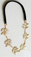 dame fleur d'or achat en gros de-Nouvelle arrivée à la mode lady peignoirs à cheveux métallisé Sweet Lady feuille d'or fleur bande de cheveux élastique bandeau