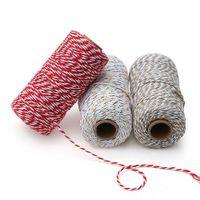 ingrosso artigianato decorativo di natale-100m / rotolo DIY Colorful 2ply Bakers Spago Corde Cordoncini di cotone Corda per il regalo di Natale fatto a mano Imballaggio Progetti artigianali Home Decor