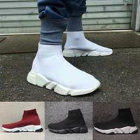 резиновые сапоги оптовых-Balenciaga Sock shoes Luxury Brand обувь плоские модные носки сапоги женщина новый скольжения на эластичной ткани скорость тренер Бегун человек обувь на открытом воздухе