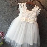 çiçek yeleği toptan satış-Vieeoease Kızlar Elbise Çiçek Çocuk Giyim 2018 Yaz Moda Kolsuz Yelek Dantel Tutu Prenses Parti Elbise KU-137