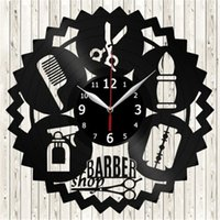Wholesale wall craft clocks - Barber Shop Vinyl Wall Clock Modern Home Decor Crafts Creative Handmade Gift Office Decoration Clock (Size: 12 inches, Color: black)
