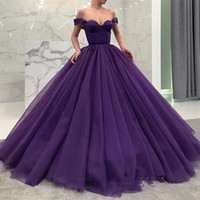 Wholesale A Line Off the Shoulder Purple Ball Gown Prom Dresses Ruffle Lace up Sweet Party Gown Quinceanera Dress Evening Gown New Arrival
