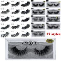extensions de cils visons achat en gros de-Cils 3D en vison maquillage pour les yeux Mink faux cils doux naturel épais faux cils Cils en 3D extension des cils beauté outils 17 styles DHL gratuit